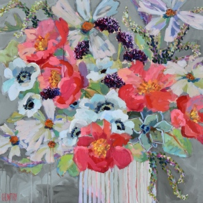"""SOLD *Her Majesty the Peony 40""""x40"""" SOLD"""