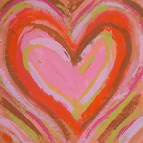 """Coral Heart 12""""x12"""" SOLD"""
